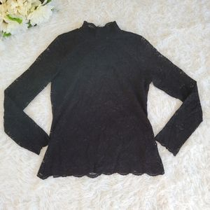 Vince Camuto Black Lack Top Size Small Mock Neck Long Sleeve Blouse Back Zip